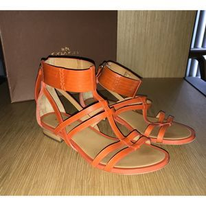 Coach Orange Ankle Wrap Zipper Back Sandals 6.5
